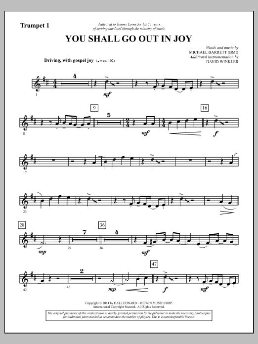 You Shall Go Out in Joy - Bb Trumpet 1 (Choir Instrumental Pak)