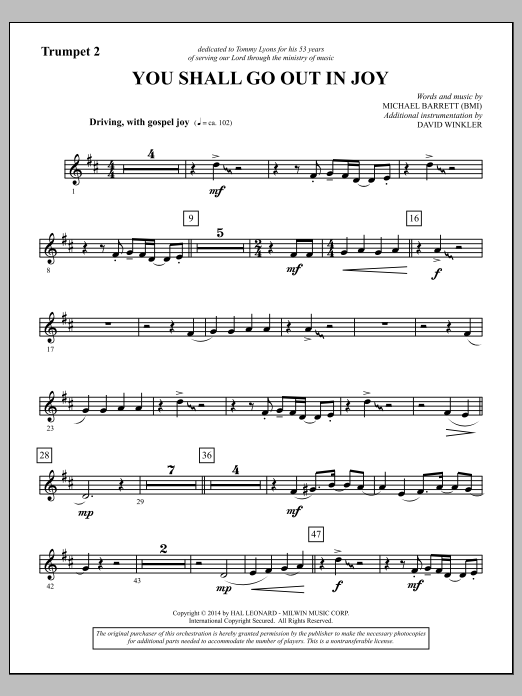 You Shall Go Out in Joy - Bb Trumpet 2 (Choir Instrumental Pak)