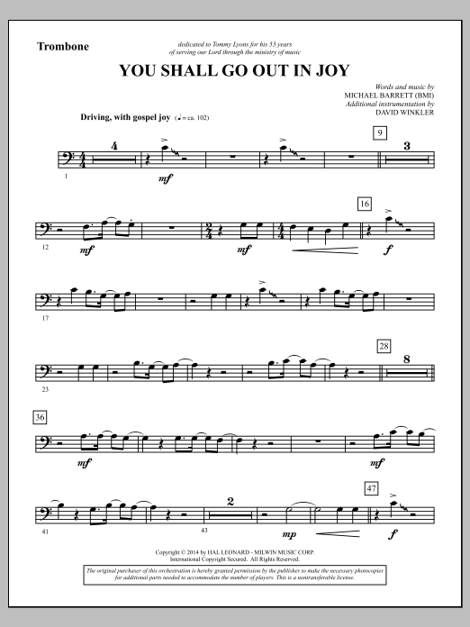 You Shall Go Out in Joy - Trombone (Choir Instrumental Pak)