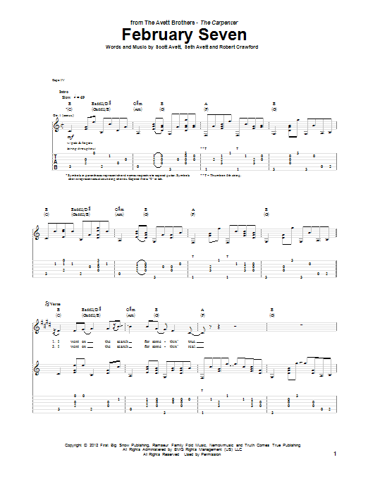 Tablature guitare February Seven de Avett Brothers - Tablature Guitare