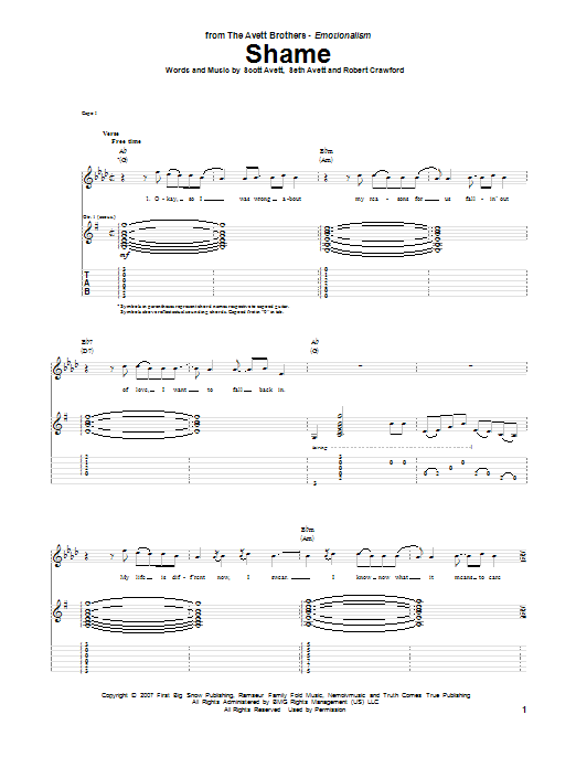 Tablature guitare Shame de The Avett Brothers - Tablature Guitare