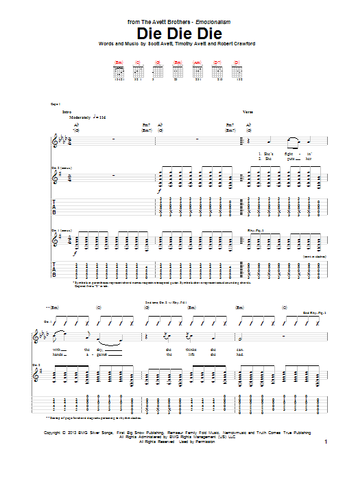 Tablature guitare Die Die Die de The Avett Brothers - Tablature Guitare