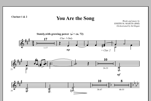 You Are the Song - Bb Clarinet 1 & 2 Sheet Music