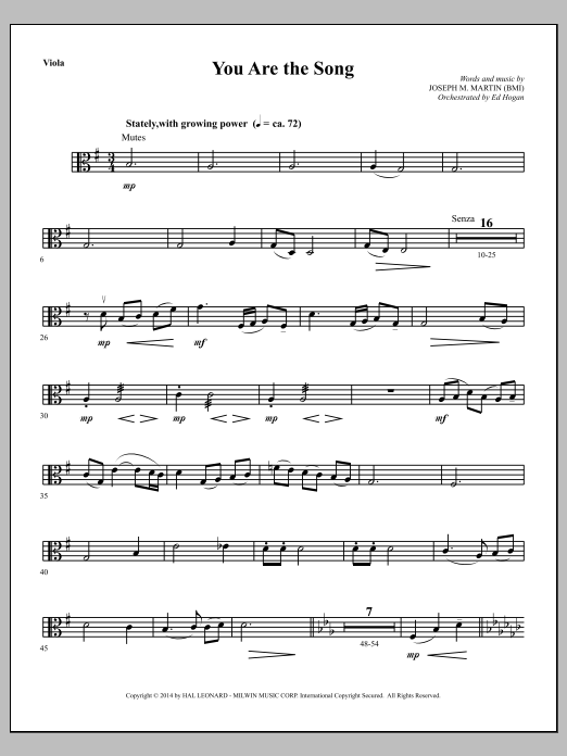 You Are the Song - Viola Sheet Music