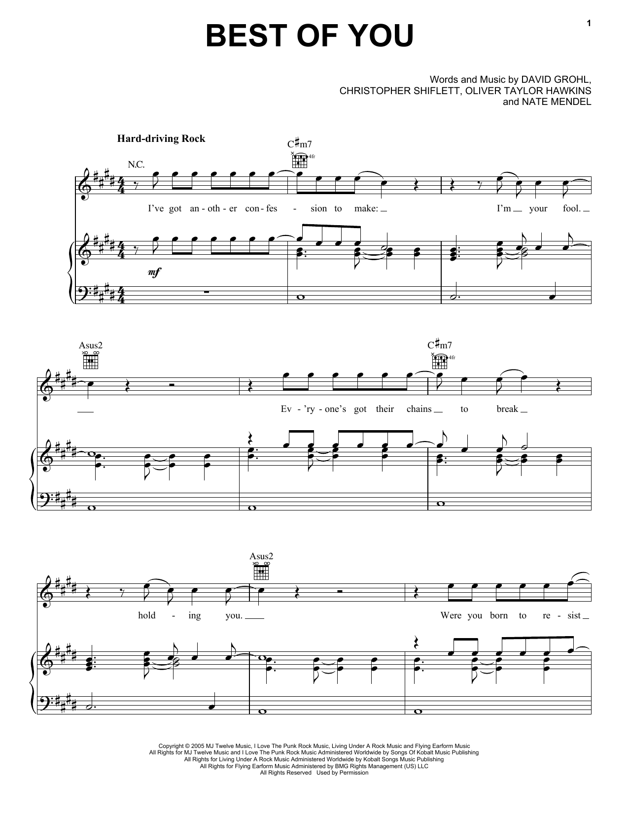 Best Of You Sheet Music