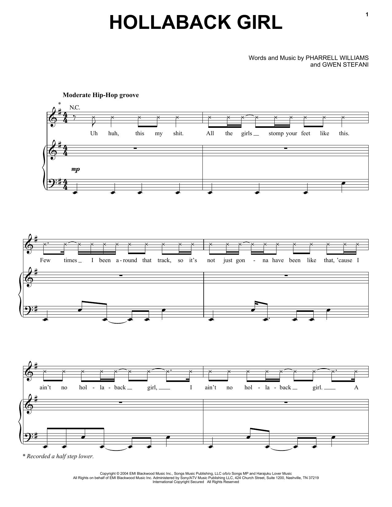 Hollaback Girl (Piano, Vocal & Guitar (Right-Hand Melody))