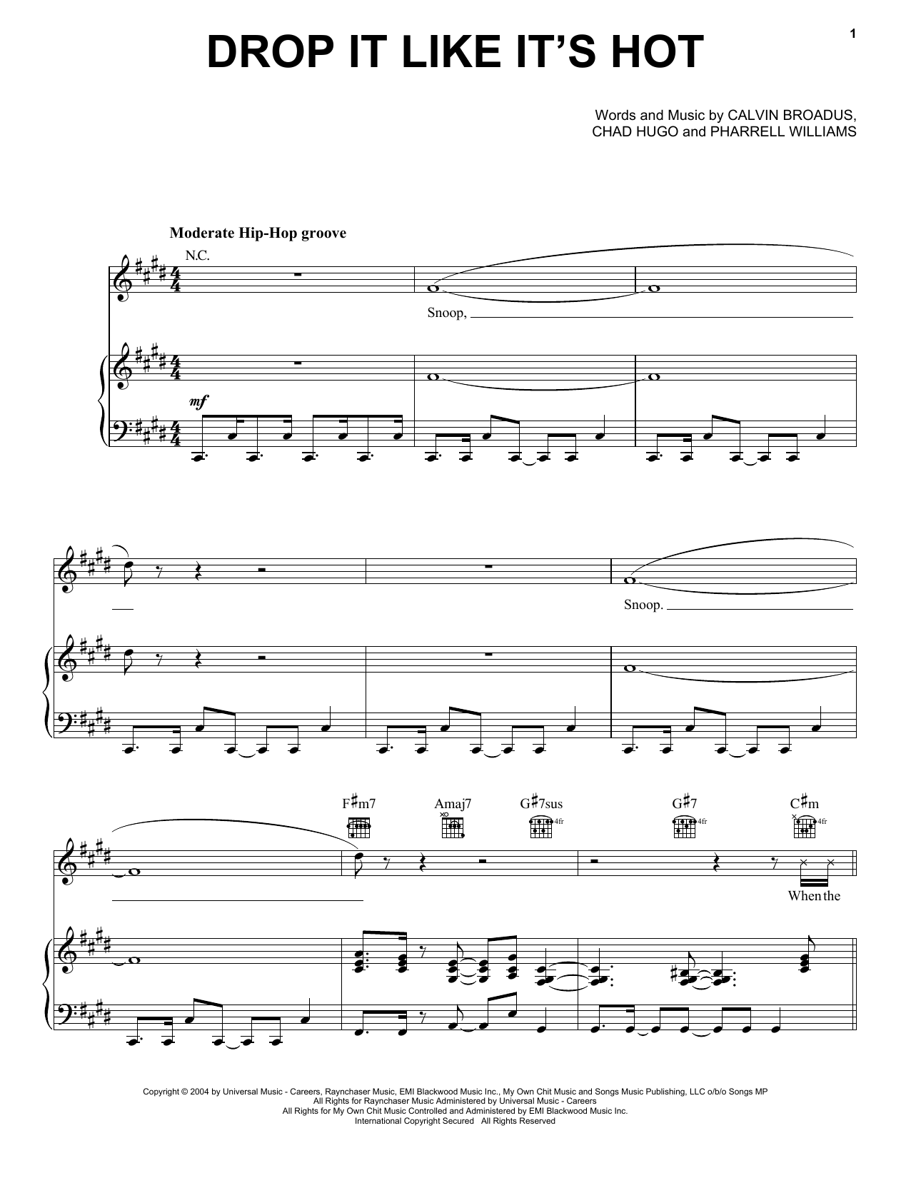 Drop It Like It's Hot (feat. Pharrell) Sheet Music