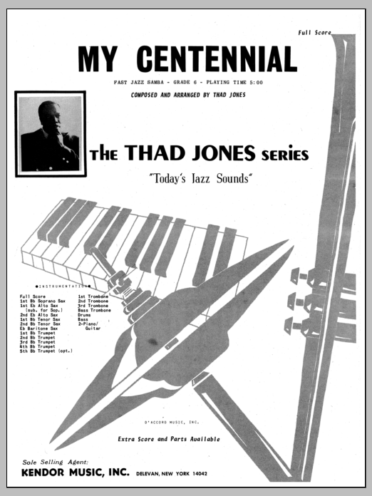 My Centennial (COMPLETE) sheet music for jazz band by Thad Jones. Score Image Preview.