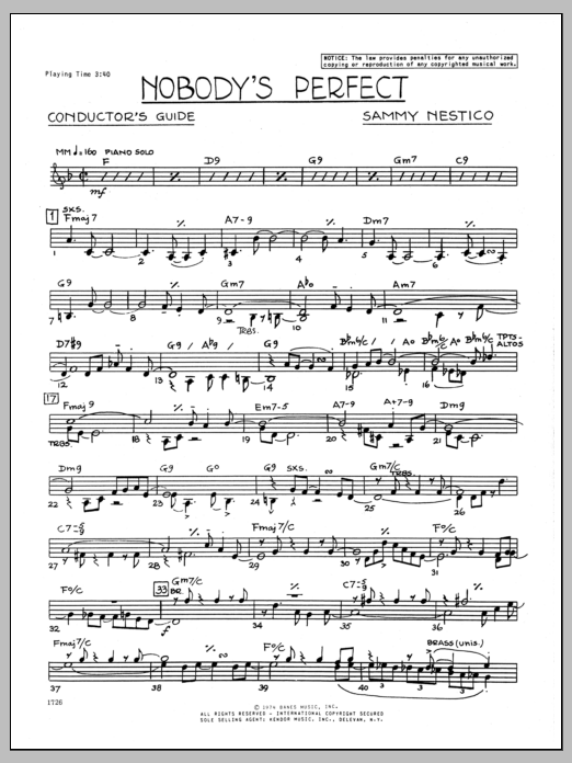 Nobody's Perfect (complete set of parts) sheet music for jazz band by Sammy Nestico. Score Image Preview.