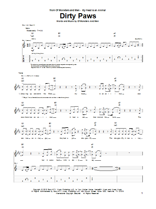 Tablature guitare Dirty Paws de Of Monsters And Men - Tablature Guitare