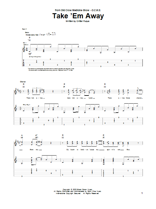 Take Em Away Old Crow Medicine Show Guitar Tab
