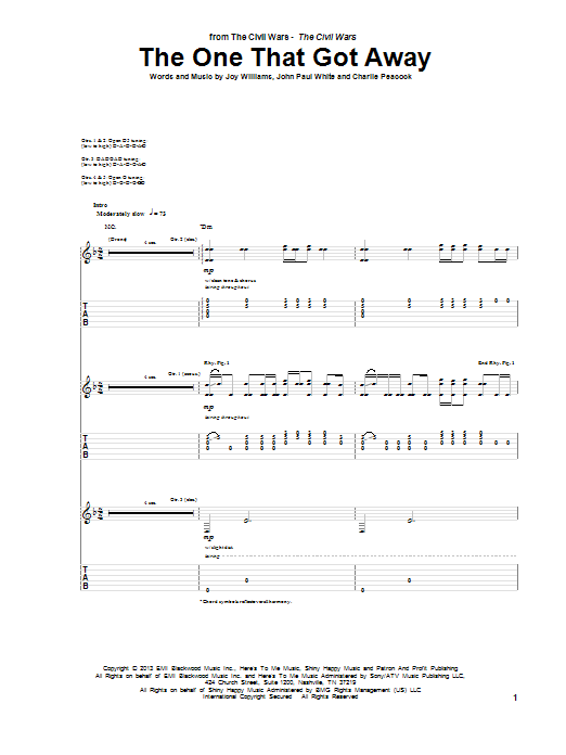 The One That Got Away Guitar Tab by The Civil Wars (Guitar Tab – 157584)