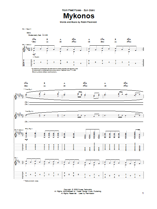 Tablature guitare Mykonos de Fleet Foxes - Tablature Guitare