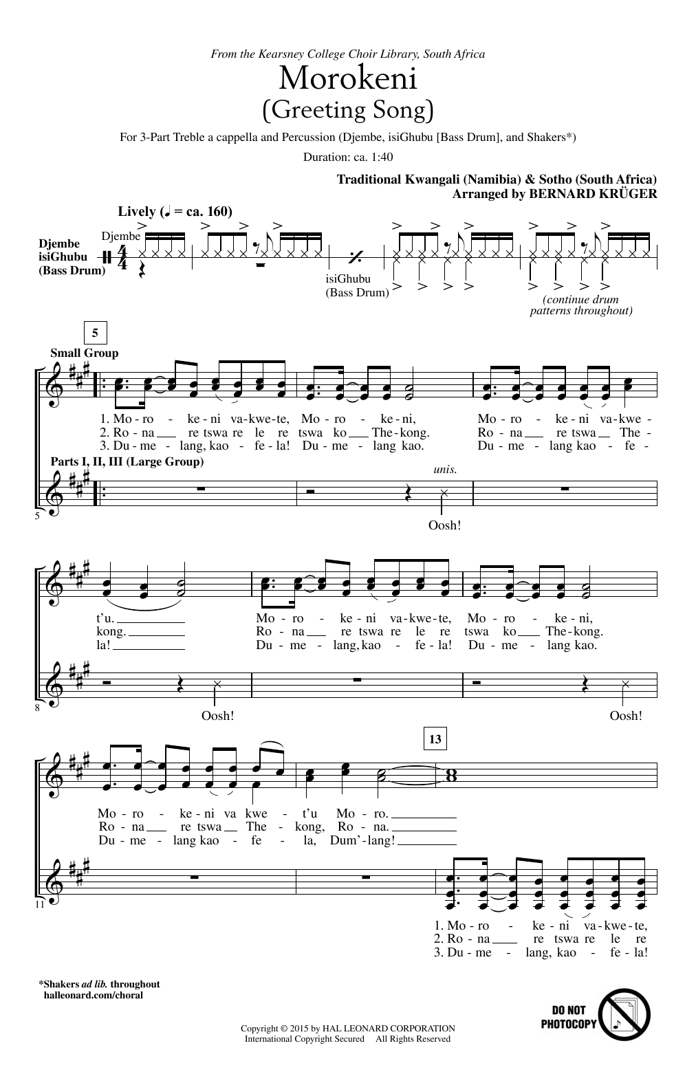 Morokeni (Welcome Song) Sheet Music