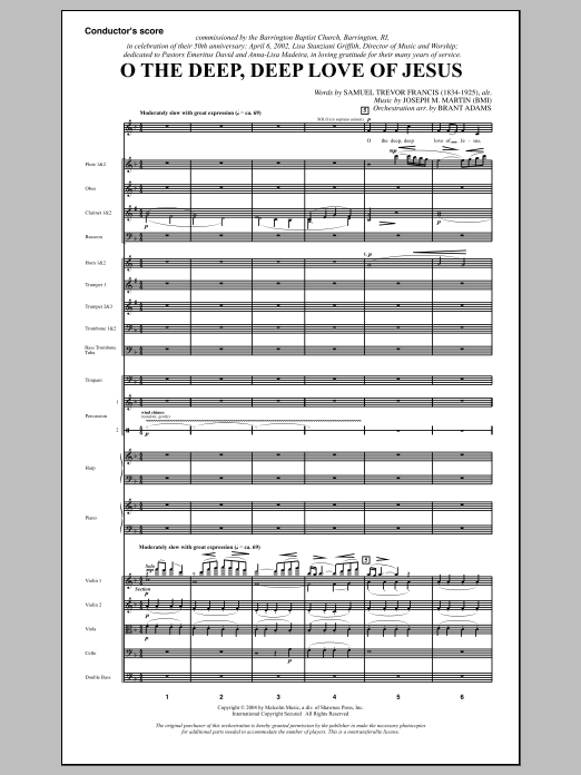 O The Deep, Deep Love Of Jesus (from Harvest Of Sorrows) (COMPLETE) sheet music for orchestra/band by Joseph M. Martin and Samuel Trevor Francis. Score Image Preview.