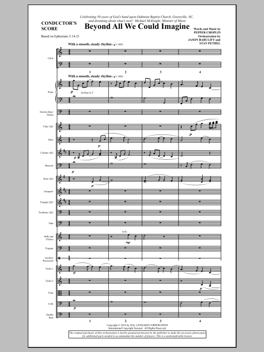 Beyond All We Could Imagine (COMPLETE) sheet music for orchestra/band by Pepper Choplin. Score Image Preview.
