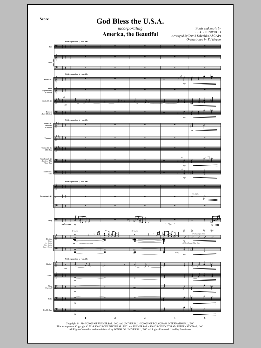 God Bless The U.S.A. (COMPLETE) sheet music for orchestra/band by David Schmidt and Lee Greenwood. Score Image Preview.