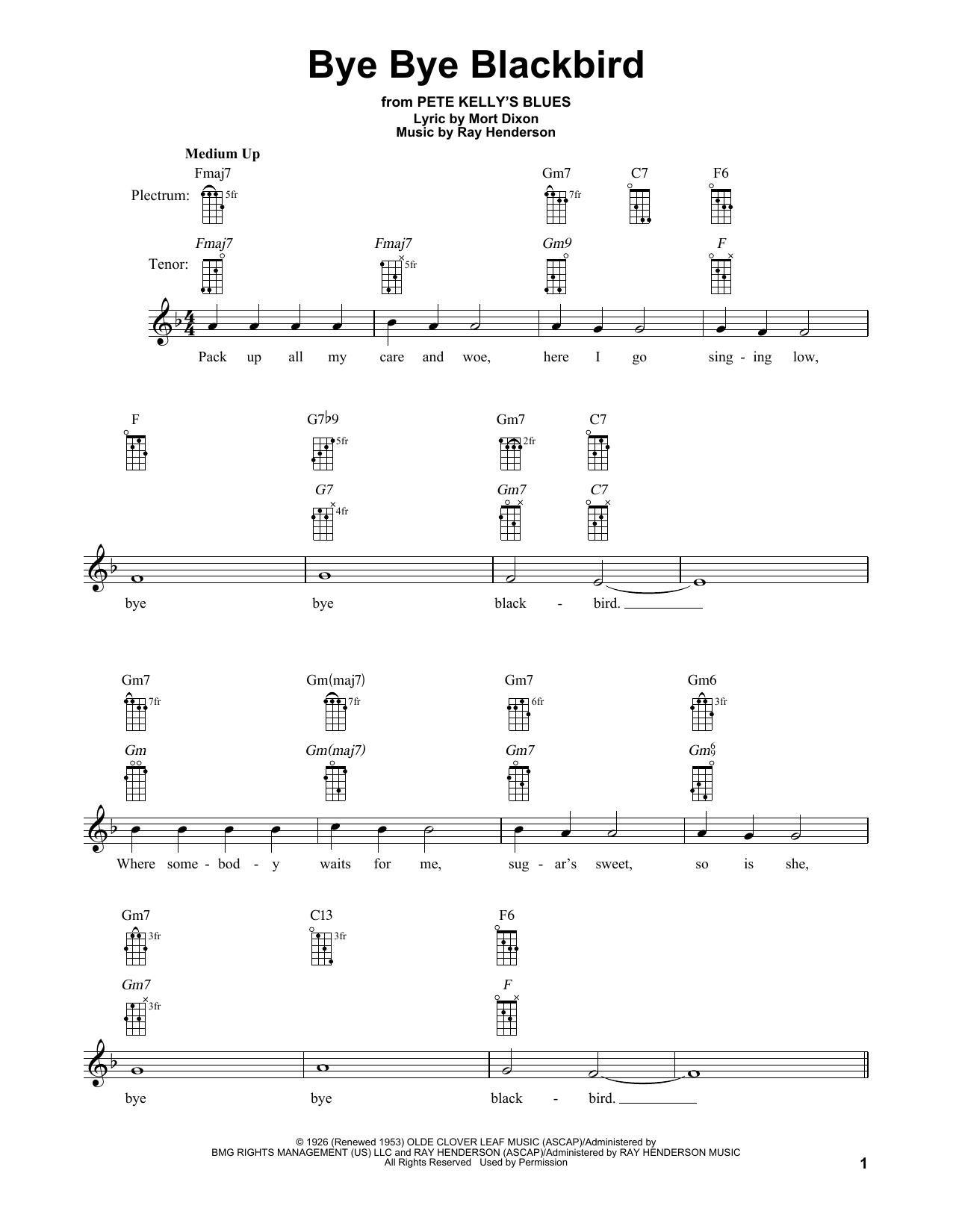 Bye Bye Blackbird (Banjo Tab)