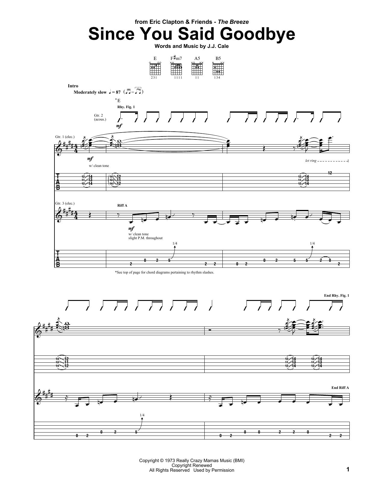 Since You Said Goodbye (Guitar Tab)