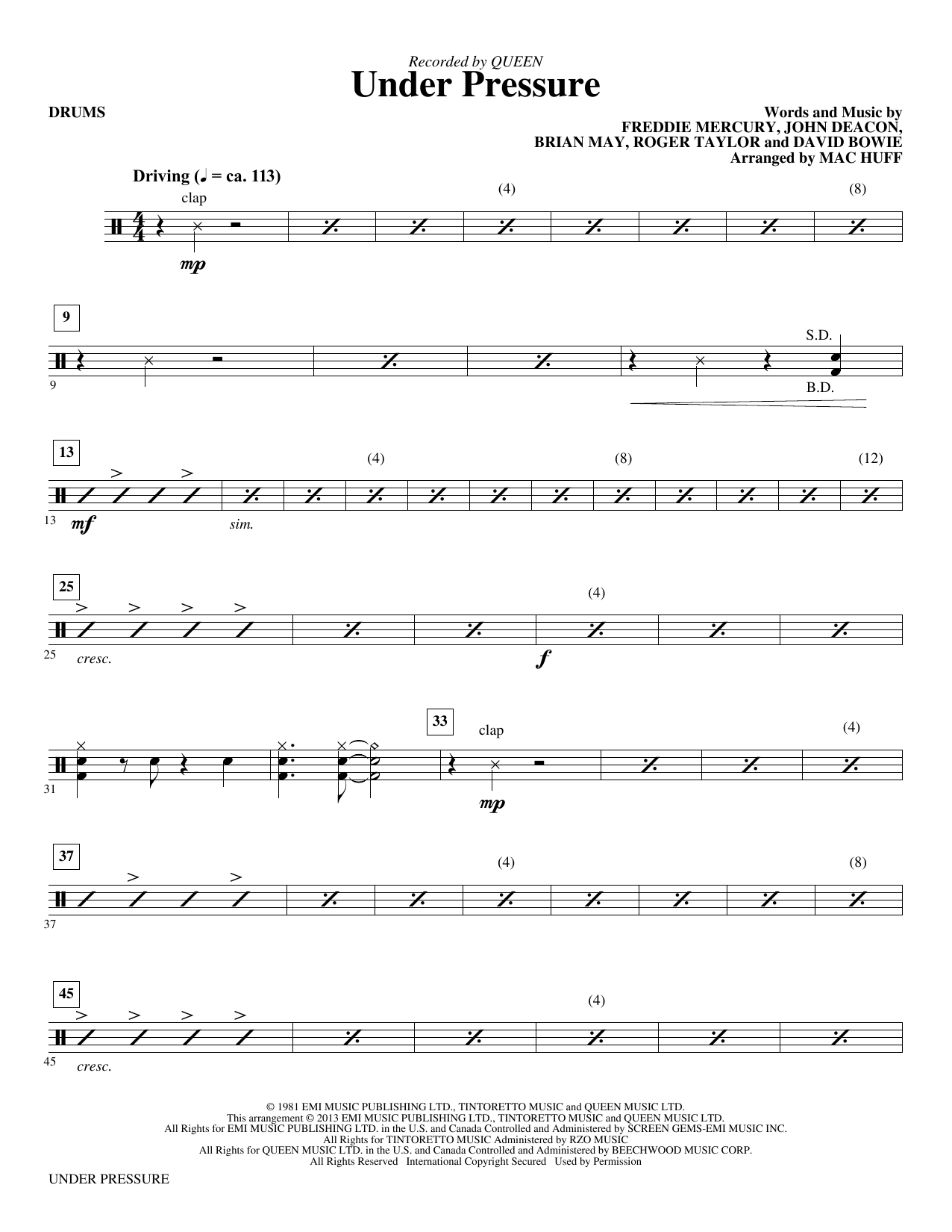 Under Pressure (arr. Mac Huff) - Drums (Choir Instrumental Pak)