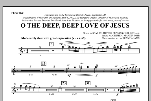 O The Deep, Deep Love Of Jesus (from Harvest Of Sorrows) - Flute 1 & 2 Sheet Music