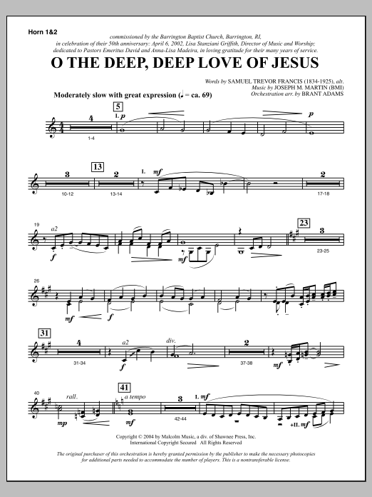 O The Deep, Deep Love Of Jesus (from Harvest Of Sorrows) - F Horn 1 & 2 Sheet Music