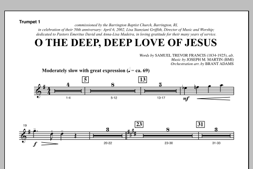 O The Deep, Deep Love Of Jesus (from Harvest Of Sorrows) - Bb Trumpet 1 Sheet Music