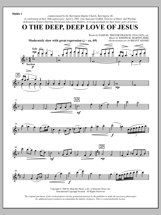 O The Deep, Deep Love Of Jesus (from Harvest Of Sorrows) - Violin 1 Sheet Music