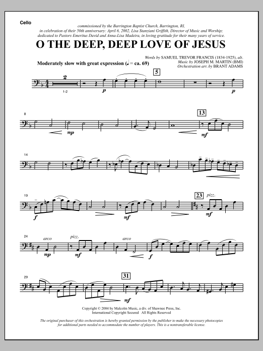 O The Deep, Deep Love Of Jesus (from Harvest Of Sorrows) - Cello Sheet Music