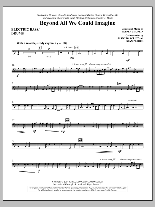 Beyond All We Could Imagine - Electric Bass/Drums Sheet Music