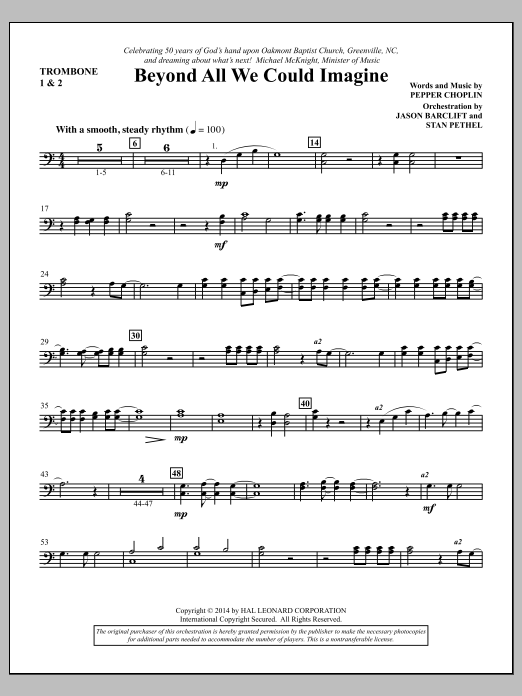 Beyond All We Could Imagine - Trombone 1 & 2 Sheet Music