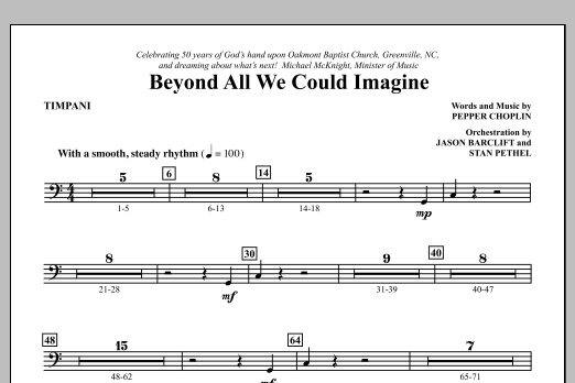 Beyond All We Could Imagine - Timpani Sheet Music