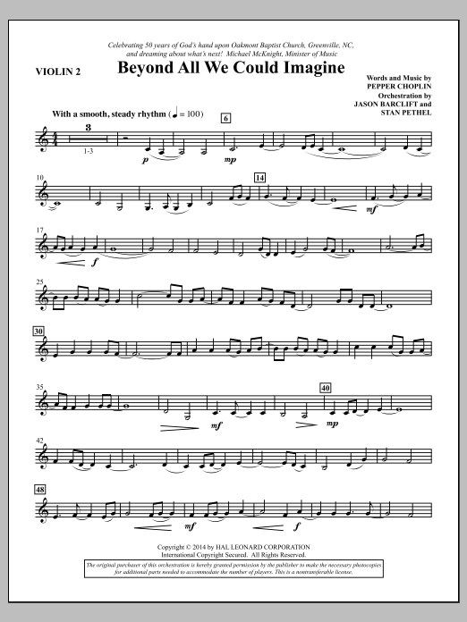 Beyond All We Could Imagine - Violin 2 Sheet Music
