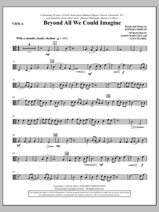 Beyond All We Could Imagine - Viola Sheet Music