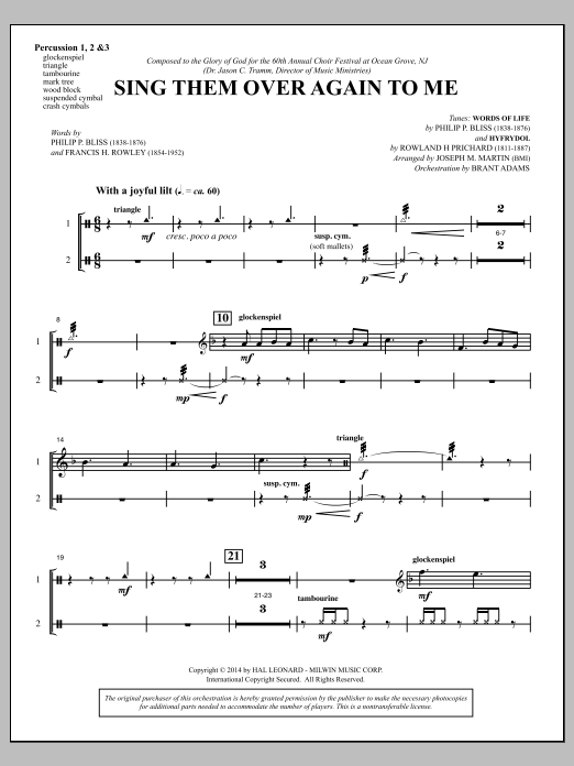 Sing Them Over Again to Me - Percussion 1-3 Sheet Music