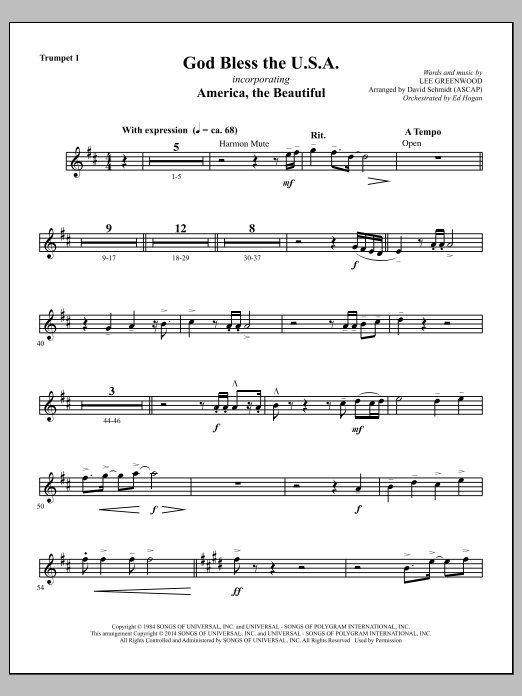 God Bless The U.S.A. - Bb Trumpet 1 Sheet Music