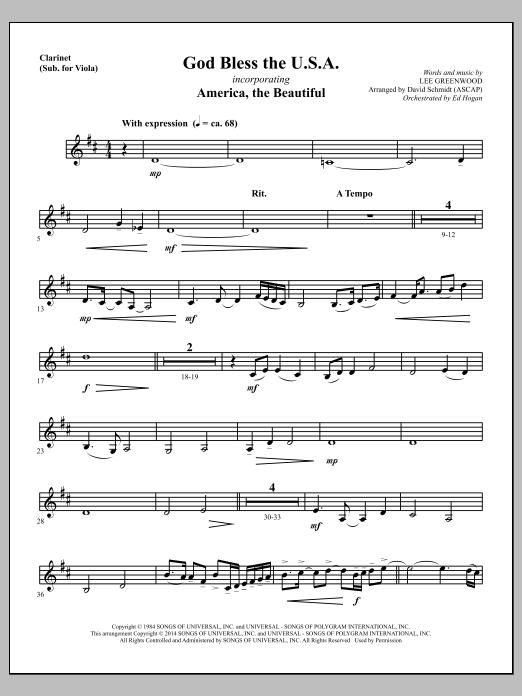 God Bless The U.S.A. - Clarinet (sub Viola) Sheet Music