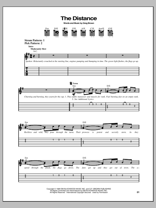 The Distance Sheet Music