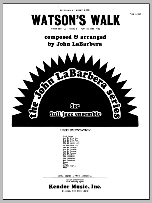 Watson's Walk (COMPLETE) sheet music for jazz band by John LaBarbara. Score Image Preview.