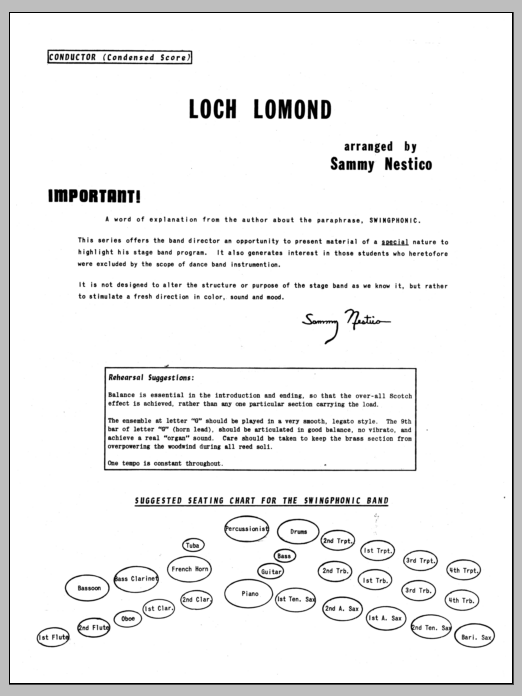 Loch Lomond (COMPLETE) sheet music for jazz band by Sammy Nestico. Score Image Preview.
