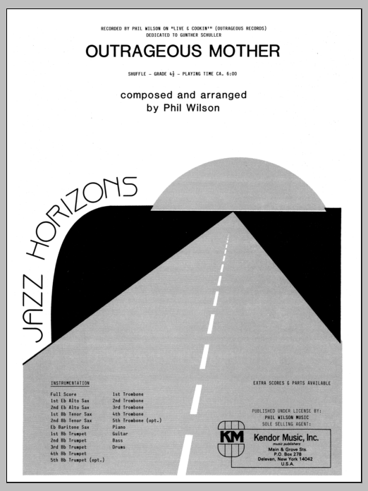Outrageous Mother (COMPLETE) sheet music for jazz band by Phil Wilson. Score Image Preview.
