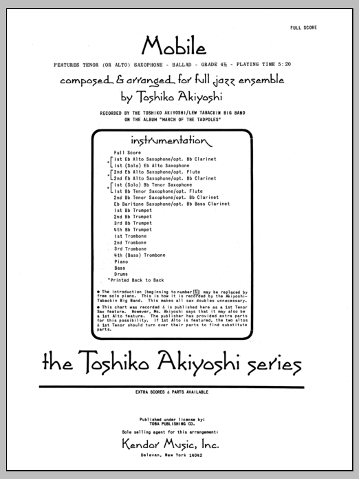 Mobile (COMPLETE) sheet music for jazz band by Toshiko Akiyoshi. Score Image Preview.
