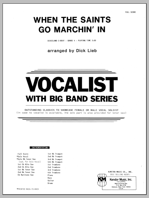 When the Saints Go Marching In (COMPLETE) sheet music for jazz band by Dick Lieb. Score Image Preview.