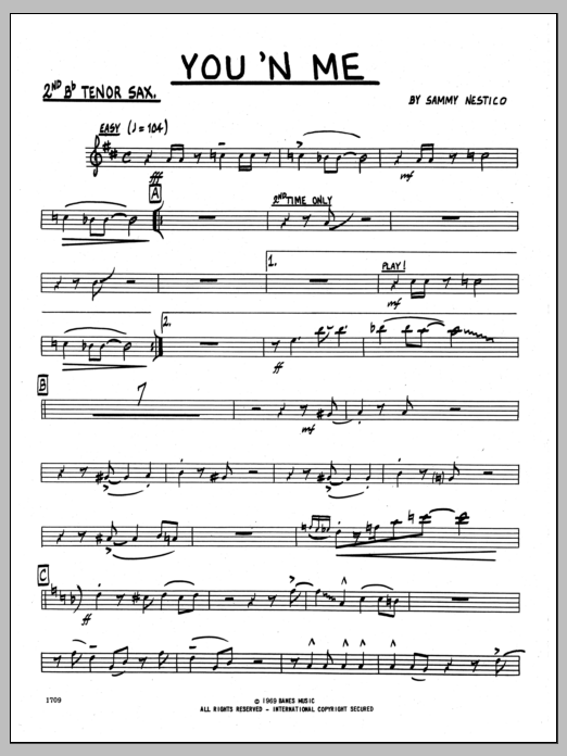 You 'N Me (complete set of parts) sheet music for jazz band by Sammy Nestico. Score Image Preview.