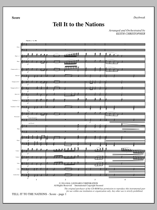 Tell It to the Nations (COMPLETE) sheet music for orchestra/band by William G. Fischer, A. Catherine Hankey and Keith Christopher. Score Image Preview.