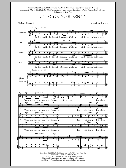 Unto Young Eternity Sheet Music