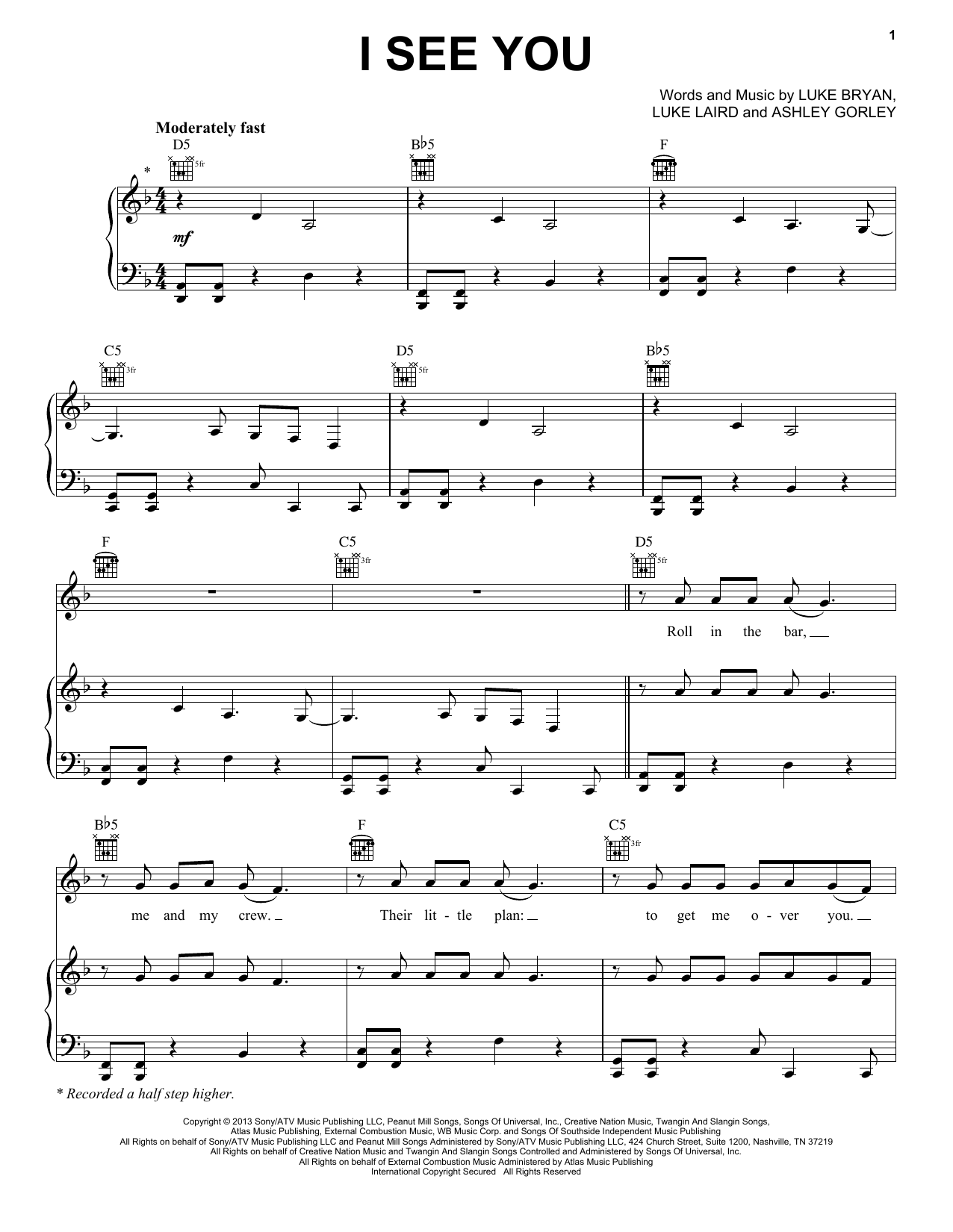 Partition piano I See You de Luke Bryan - Piano Voix Guitare (Mélodie Main Droite)