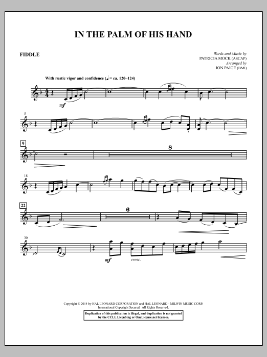 In the Palm of His Hand (complete set of parts) sheet music for orchestra/band by Jon Paige and Patricia Mock. Score Image Preview.