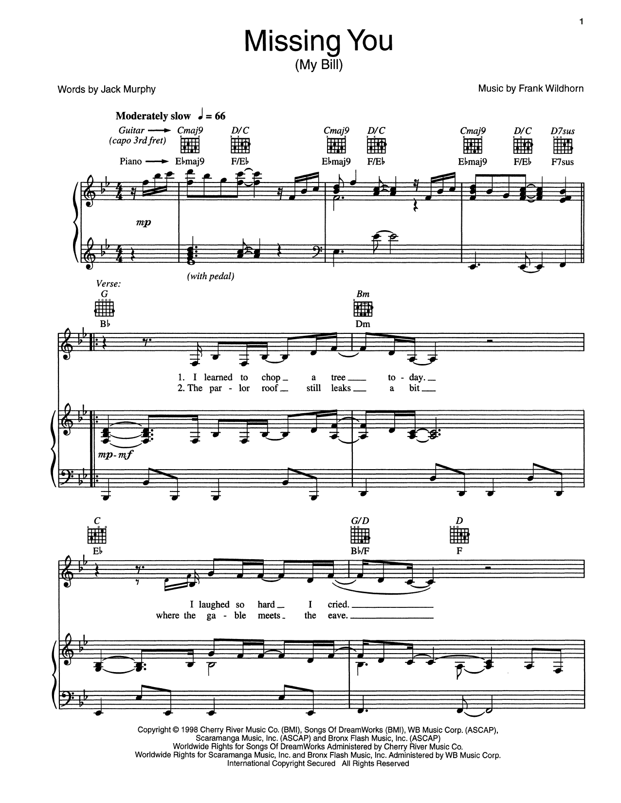 Missing You (My Bill) Sheet Music