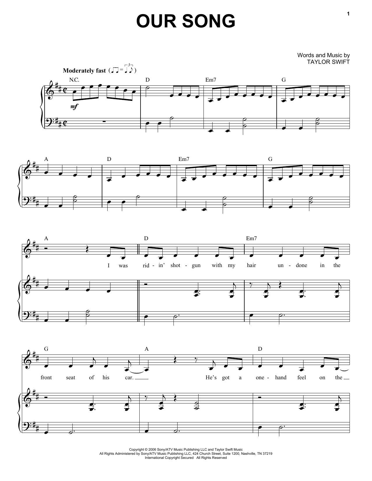 Partition piano Our Song de Taylor Swift - Piano Voix